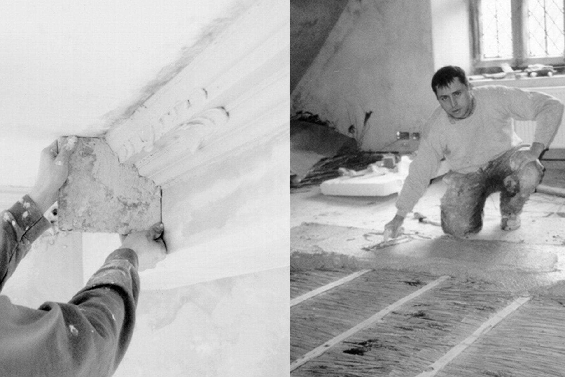 Snitterton Hall - Matlock - Cornice and floor during works L10